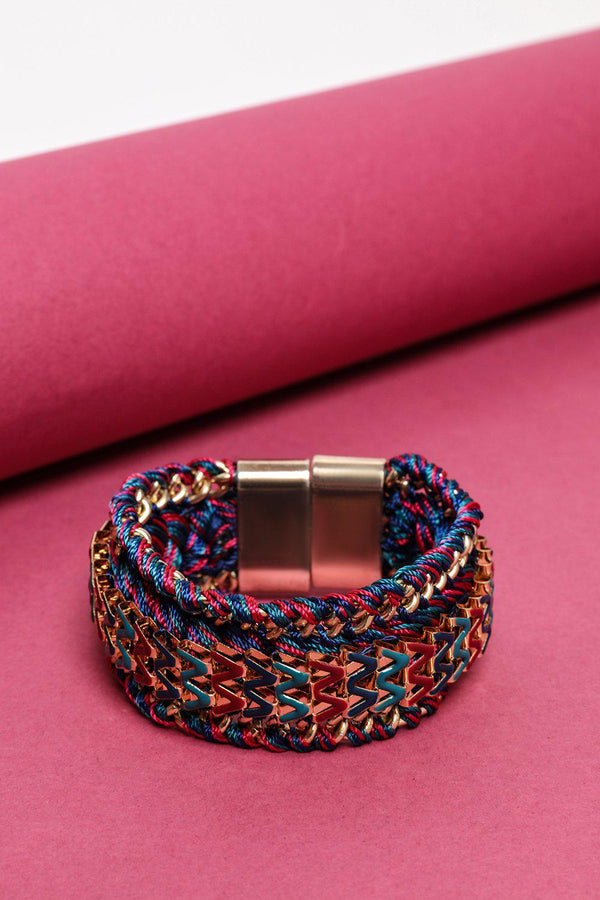 Multicoloure Thread And Chain Reversible Magnetic Bracelet-SinglePrice