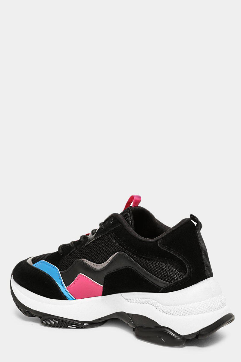 Black Wave Colourblock Chunky Trainers - SinglePrice