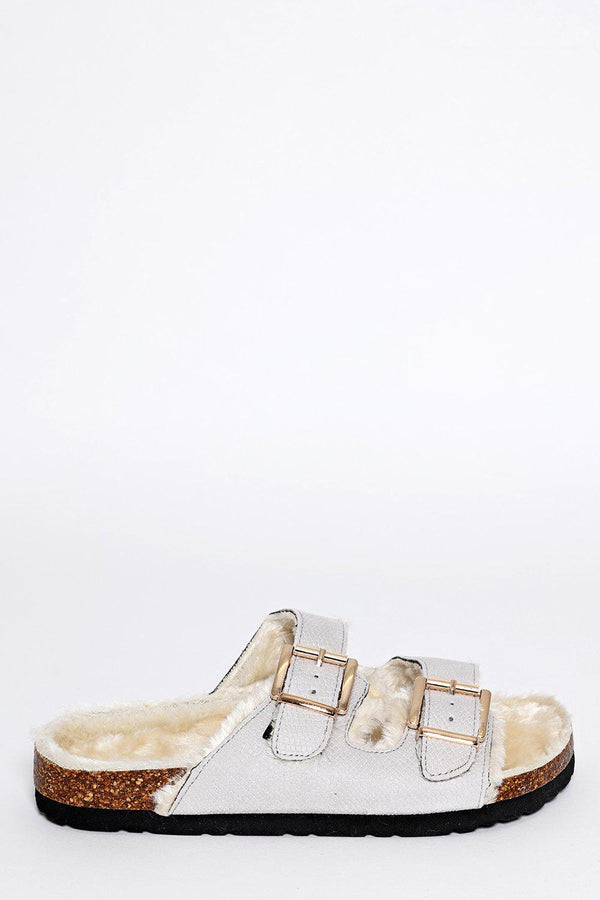 Double Buckle Faux Fur Lined Grey Sliders-SinglePrice