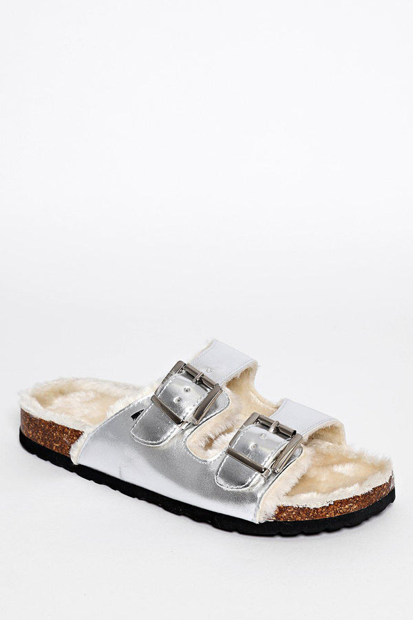 Double Buckle Faux Fur Lined Silver Sliders - SinglePrice