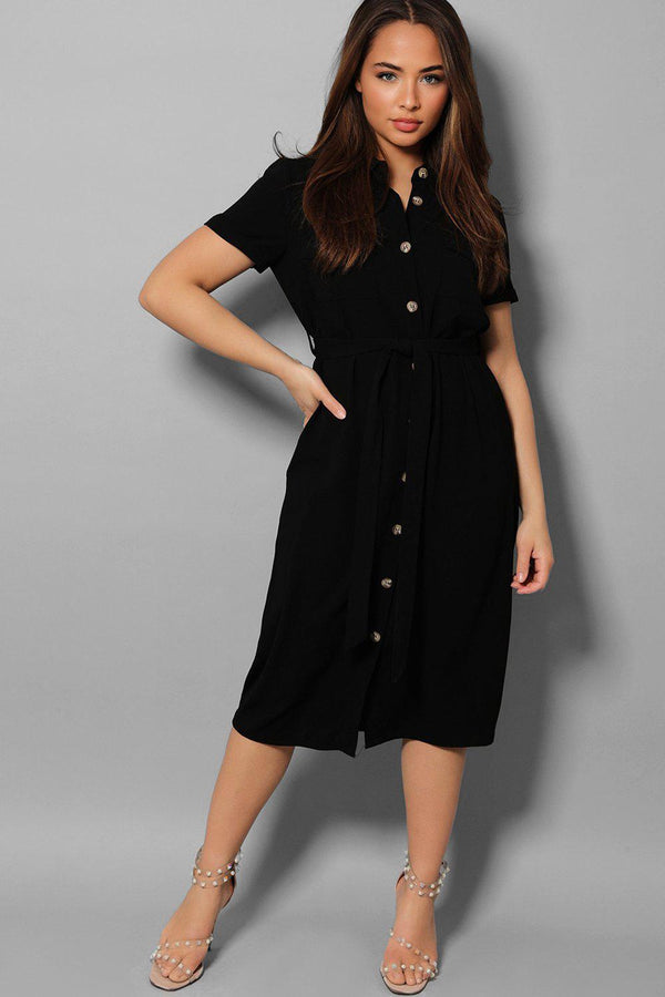 Black Button Down Waist Tie Midaxi Shirt Dress - SinglePrice