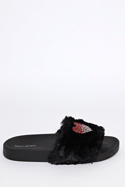 Embellished Heart Black Faux Fur Sliders-SinglePrice