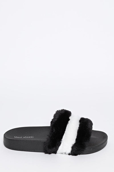 Black Faux Fur Sliders-SinglePrice