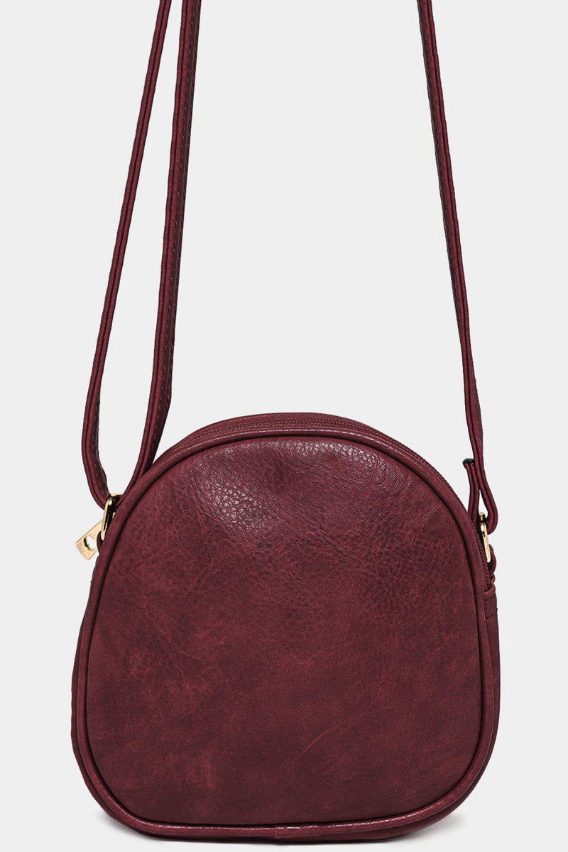 Burgundy Vegan Leather Mini Crossbody Bag - SinglePrice