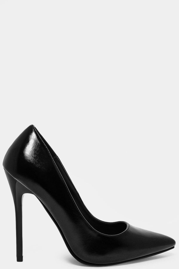 Patent Vegan Leather Black Classic Stilettos - SinglePrice