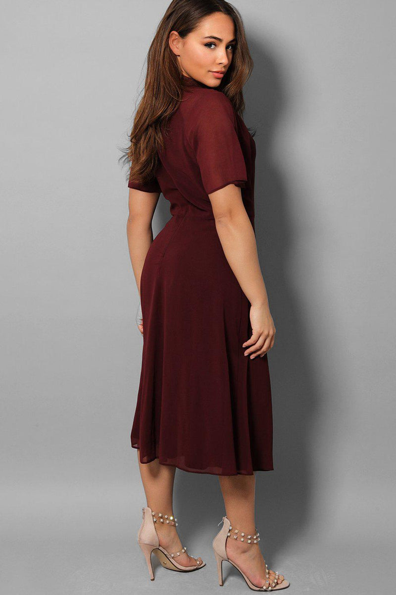 Burgundy Sheer Sleeves Pee-A-Boo Midi Dress - SinglePrice