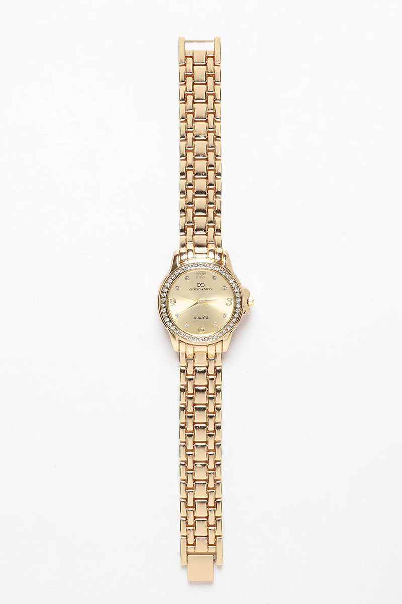 Crystals Encrusted Round Gold Dial Gold Watch-SinglePrice