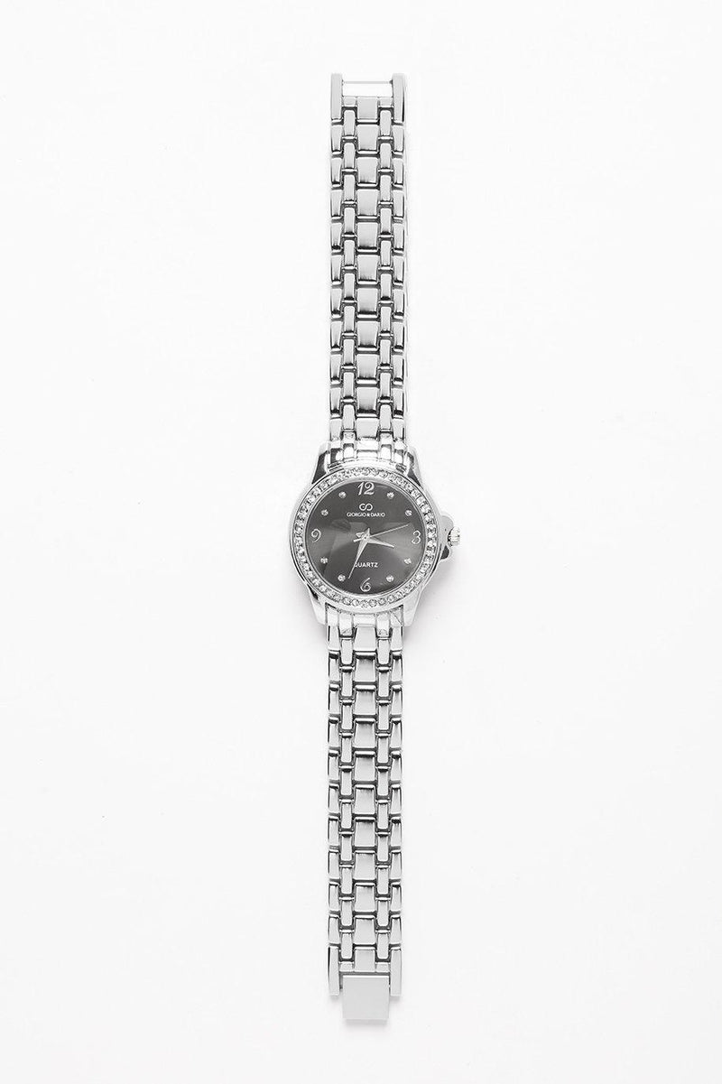 Crystals Encrusted Round Black Dial Silver Watch-SinglePrice