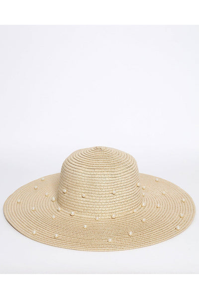Beige Pearls Embellished Straw Sun Hat-SinglePrice