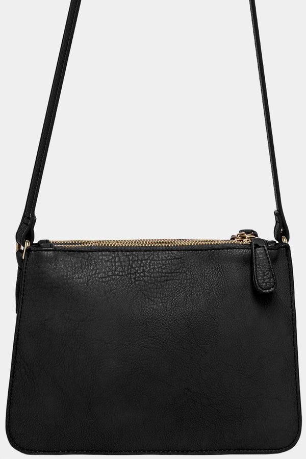 Black Vegan Leather Triple Compartment Shoulder Bag-SinglePrice