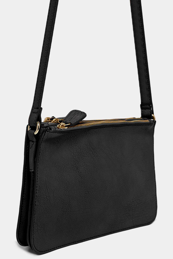 Black Vegan Leather Triple Compartment Shoulder Bag - SinglePrice