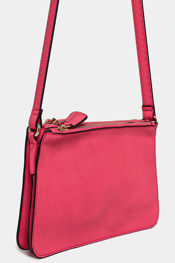 Hot Pink Vegan Leather Triple Compartment Shoulder Bag - SinglePrice