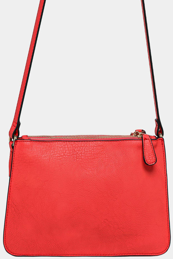 Red Vegan Leather Triple Compartment Shoulder Bag-SinglePrice