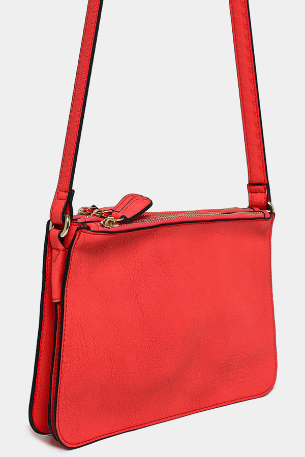 Red Vegan Leather Triple Compartment Shoulder Bag - SinglePrice