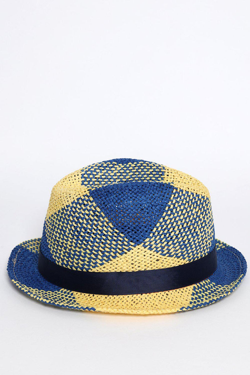 Navy and Yellow Beach Straw Hat - SinglePrice