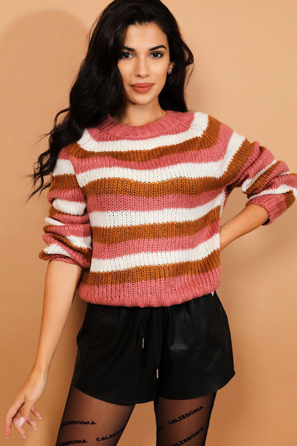 Pink Stripe Chunky Rib Knit Pullover-SinglePrice