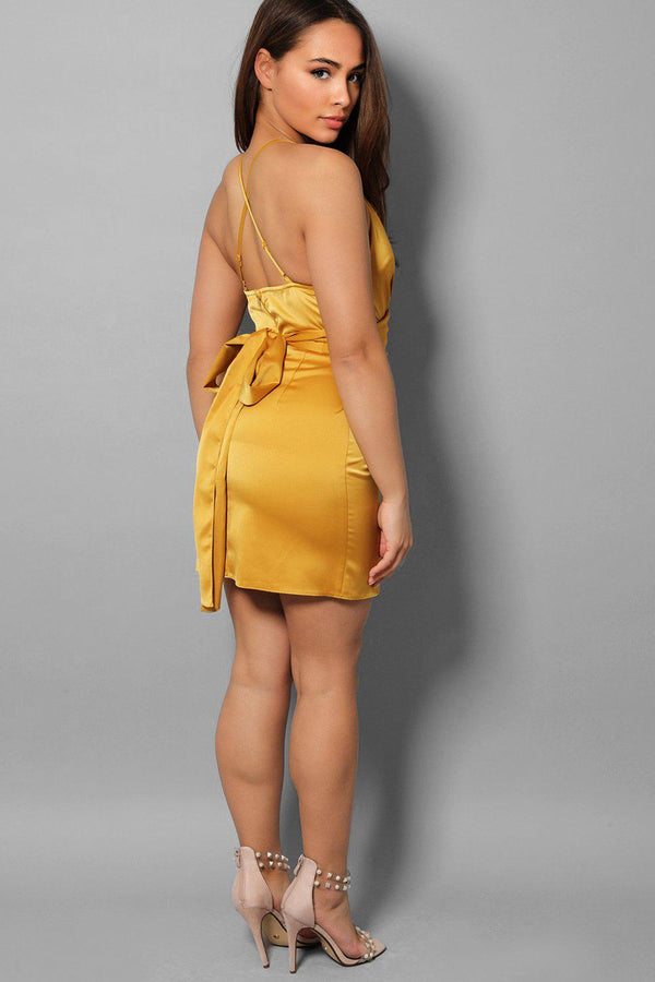 Yellow Satin Cross Waist Tie Mini Dress - SinglePrice