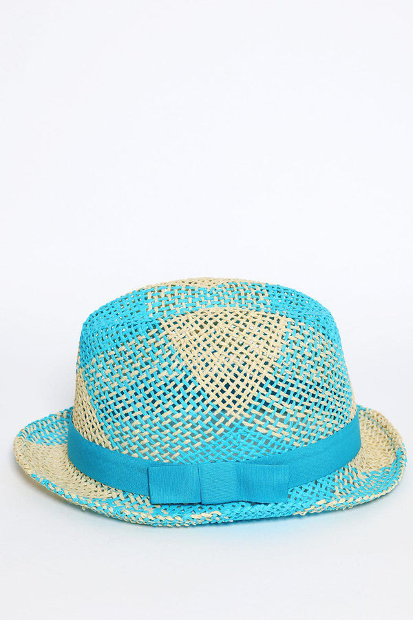 Blue and Cream Beach Straw Hat-SinglePrice