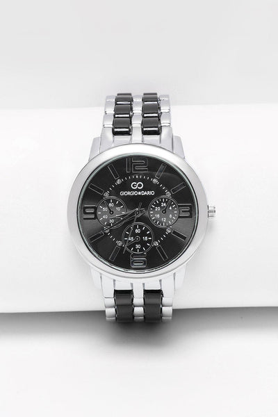 Thick Black & Silver Band Chronograph Watch-SinglePrice