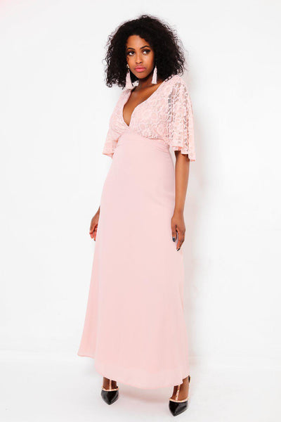 Lace V-Neck Pink Maxi Dress-SinglePrice