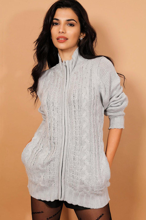 Grey Chunky Lurex Cable Knit Zip Front Jacket - SinglePrice