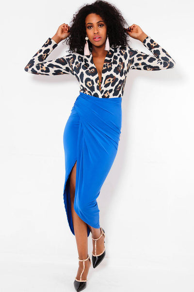 Open Leg Blue Skirt Leopard Print Dress-SinglePrice