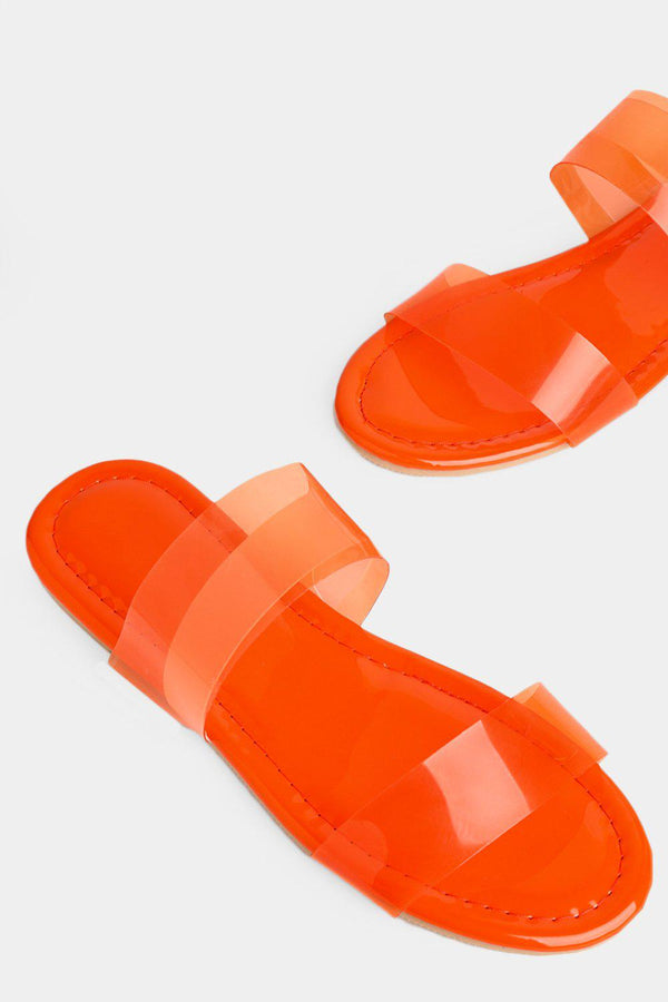Neon Orange Double Perspex Straps Flat Sliders - SinglePrice