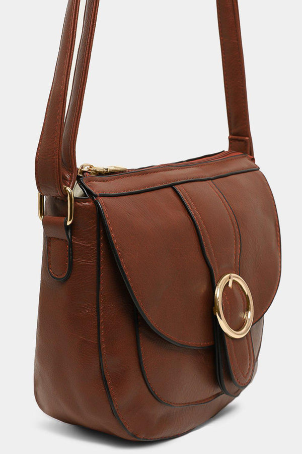 Tan Vegan Leather Vintage Saddle Crossbody Bag - SinglePrice