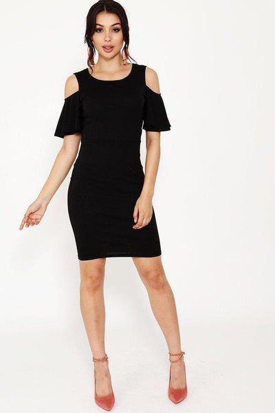 Black Cold Shoulder Frill Sleeve Dress-SinglePrice