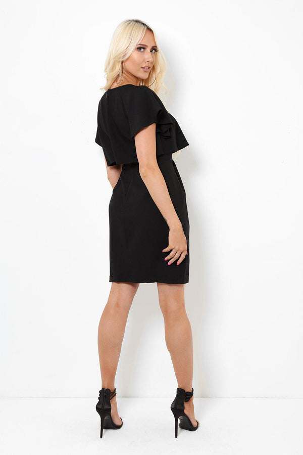 Layered Front Black Smart Dress-SinglePrice