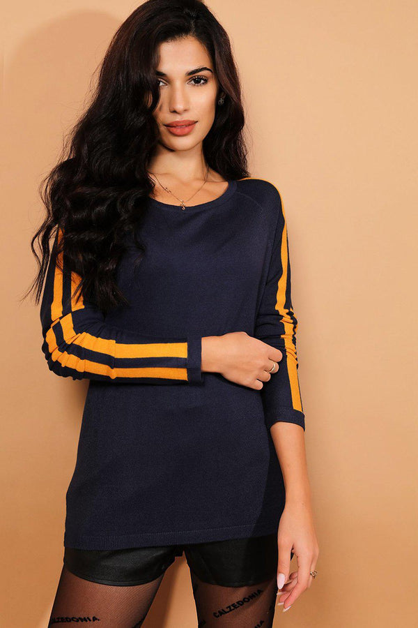 Navy Scoop Neck Yellow Stripes Pullover - SinglePrice