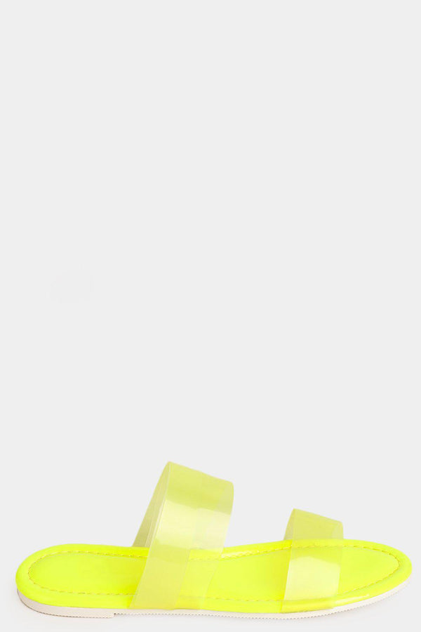 Neon Yellow Double Perspex Straps Flat Sliders - SinglePrice