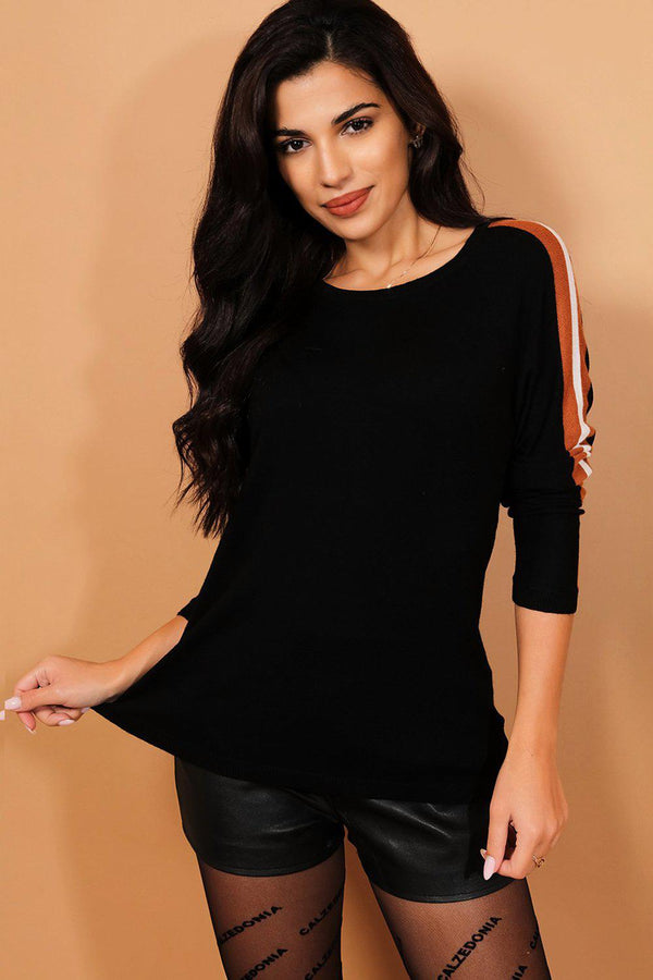 Black Scoop Neck Brown Stripes Pullover-SinglePrice