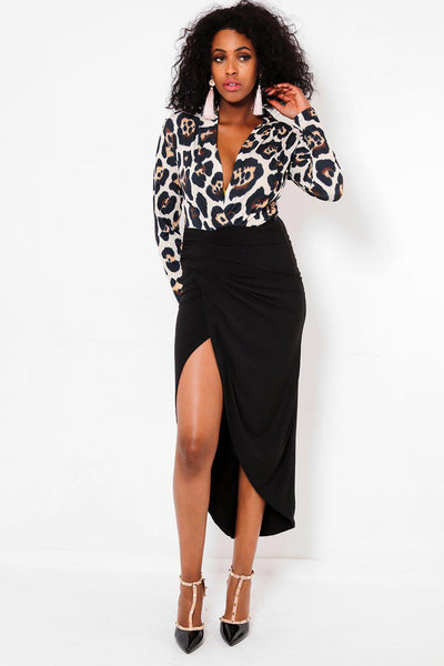 Open Leg Black Skirt Leopard Print Dress-SinglePrice
