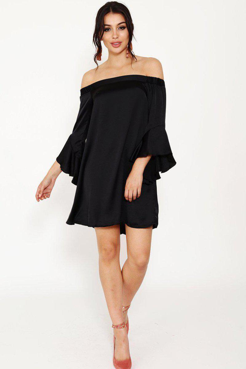 Black Satin Off Shoulder Dress-SinglePrice