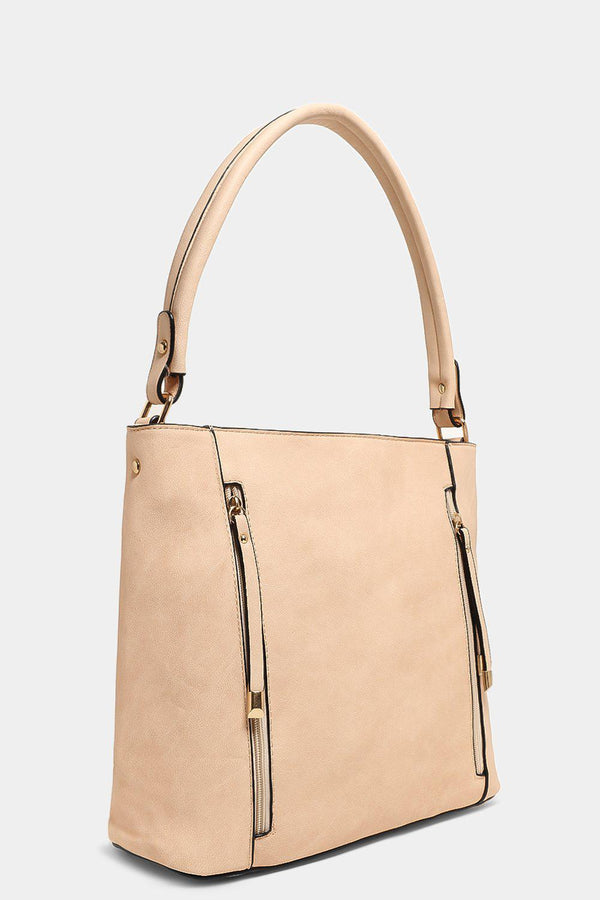 Beige Twin Zip Pockets Vegan Leather Handbag - SinglePrice