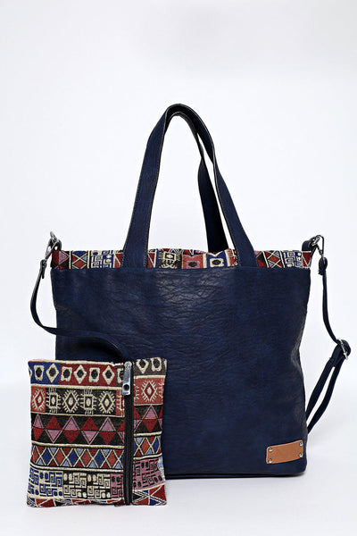 Blue Aztec Trim Two-In-One Handbag