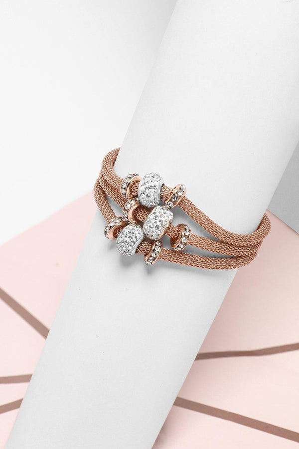 Shamballa Bead Rose Gold Layered Magnetic Bracelet-SinglePrice