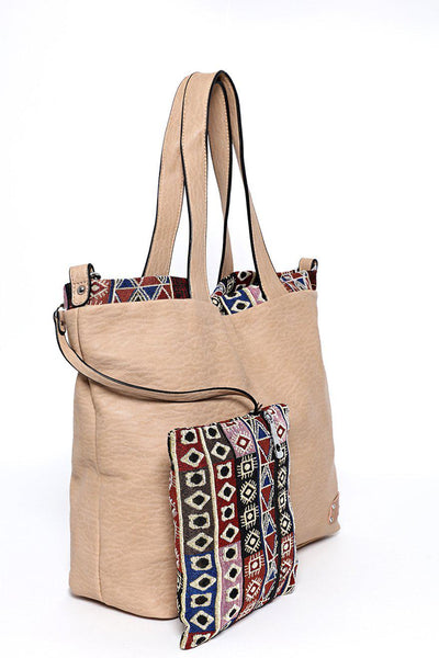 Apricot Aztec Trim Two-In-One Handbag