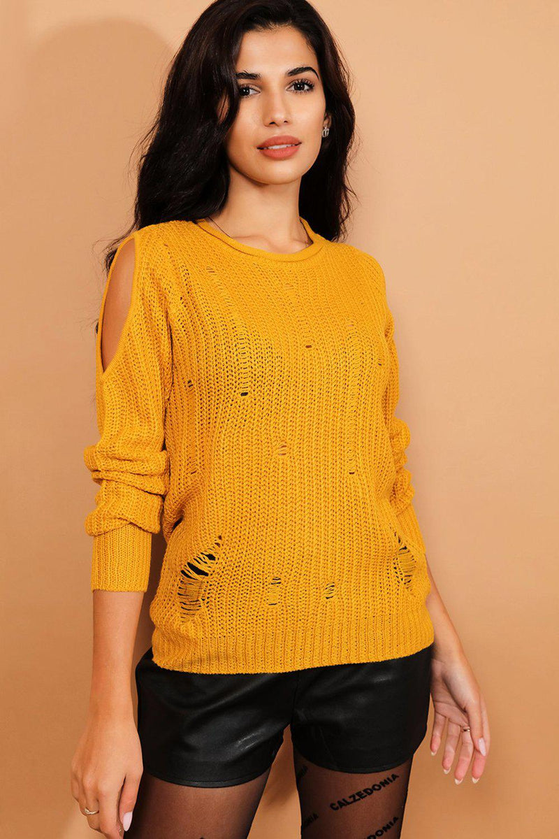 Mustard Cold Shoulder Distressed Details Pullover - SinglePrice
