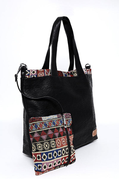 Black Aztec Trim Two-In-One Handbag
