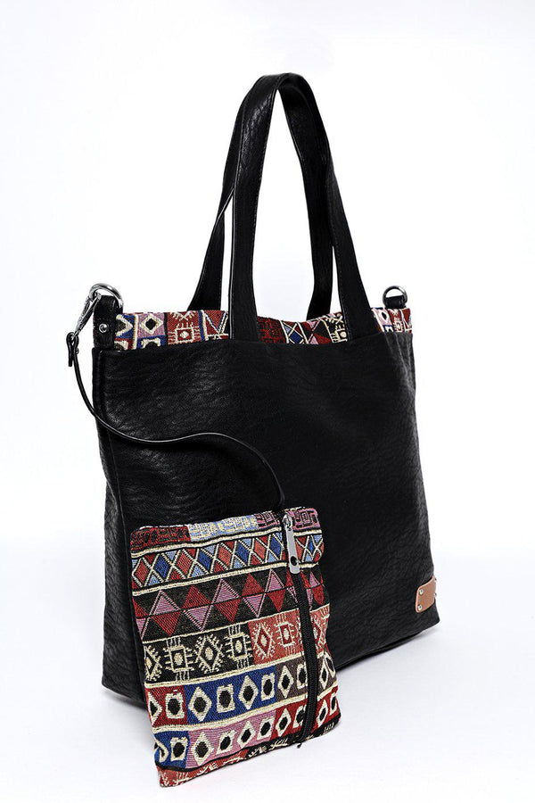 Black Aztec Trim Two-In-One Handbag-SinglePrice
