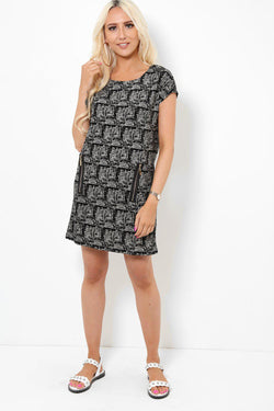 Side Zip Pockets Soft Shift Dress - SinglePrice