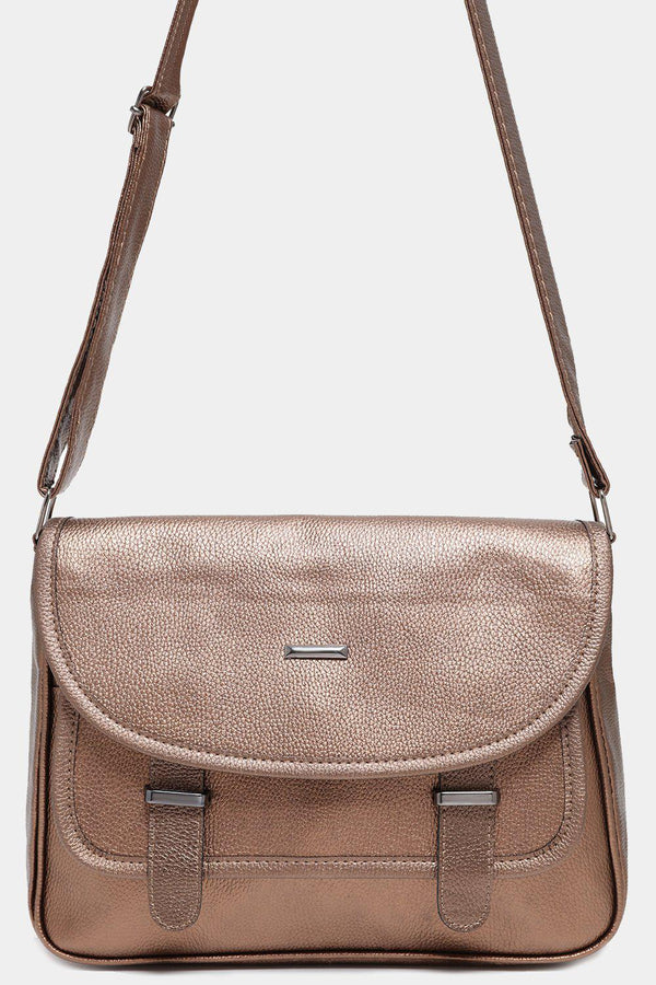 Vegan Leather Bronze Satchel Bag-SinglePrice