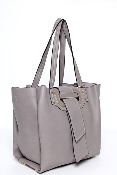 Grey Pull Through Buckle Bag
