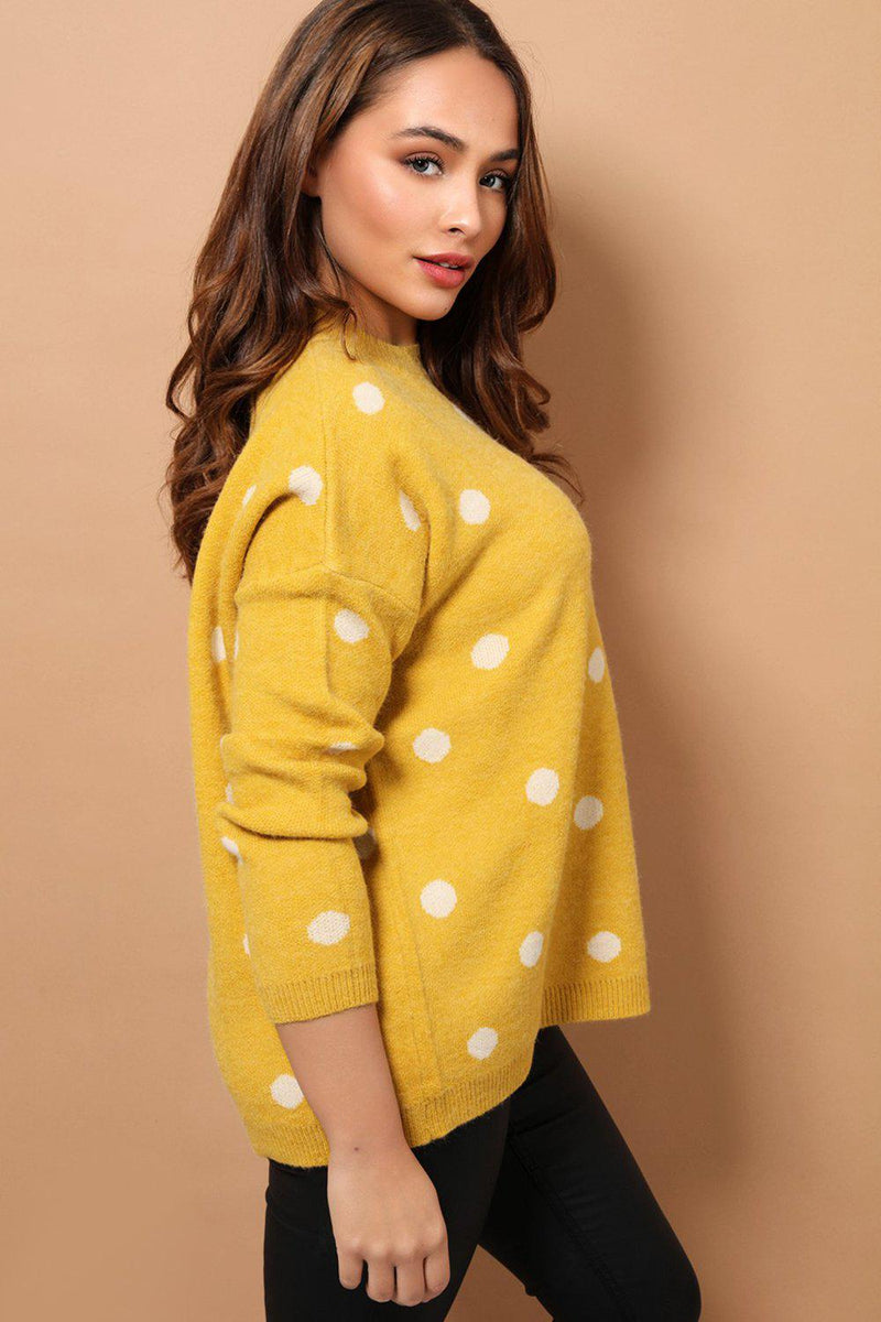 Yellow Polka Dot Relaxed Fit Soft Knit Jumper - SinglePrice