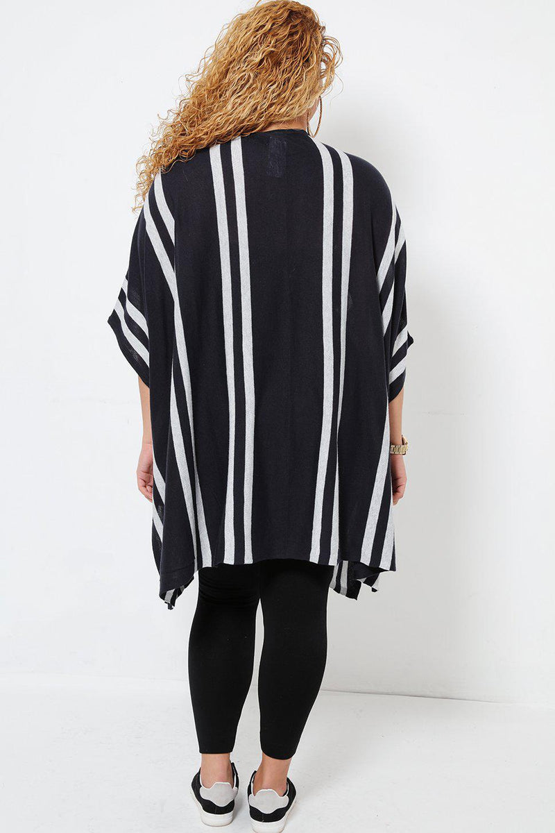 Blanket Style Square Striped Navy Grey Open Cardie - SinglePrice