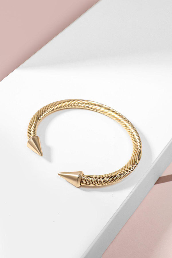 Gold Spiked Twisted Cuff Bracelet-SinglePrice