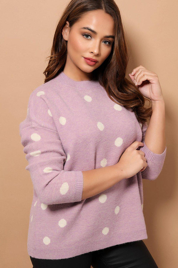 Lilac Polka Dot Relaxed Fit Soft Knit Jumper - SinglePrice
