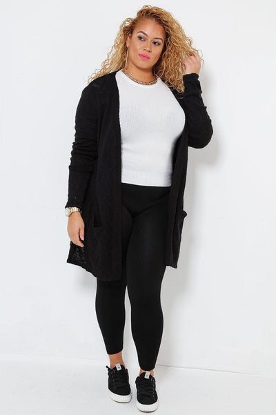 Mixed Knit Open Front Black Cardigan-SinglePrice